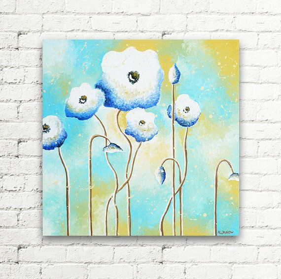 Baby Blue White Poppy Original Painting Wall Art by hjmArtGallery
