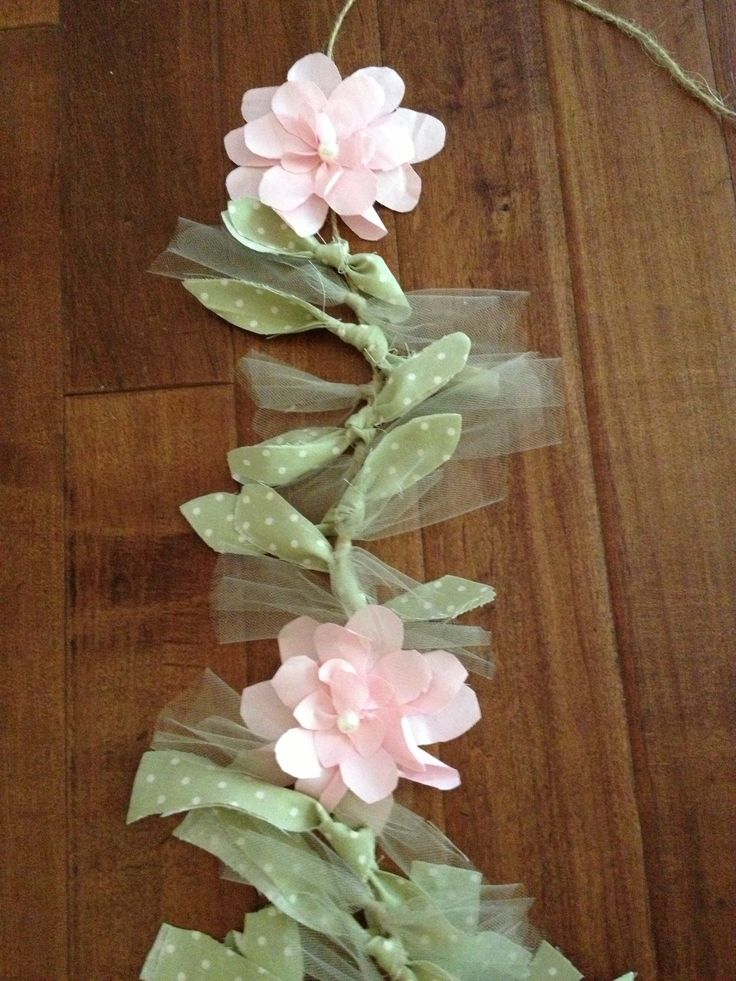 Shabby chic garland..tulle & fabric & pearl