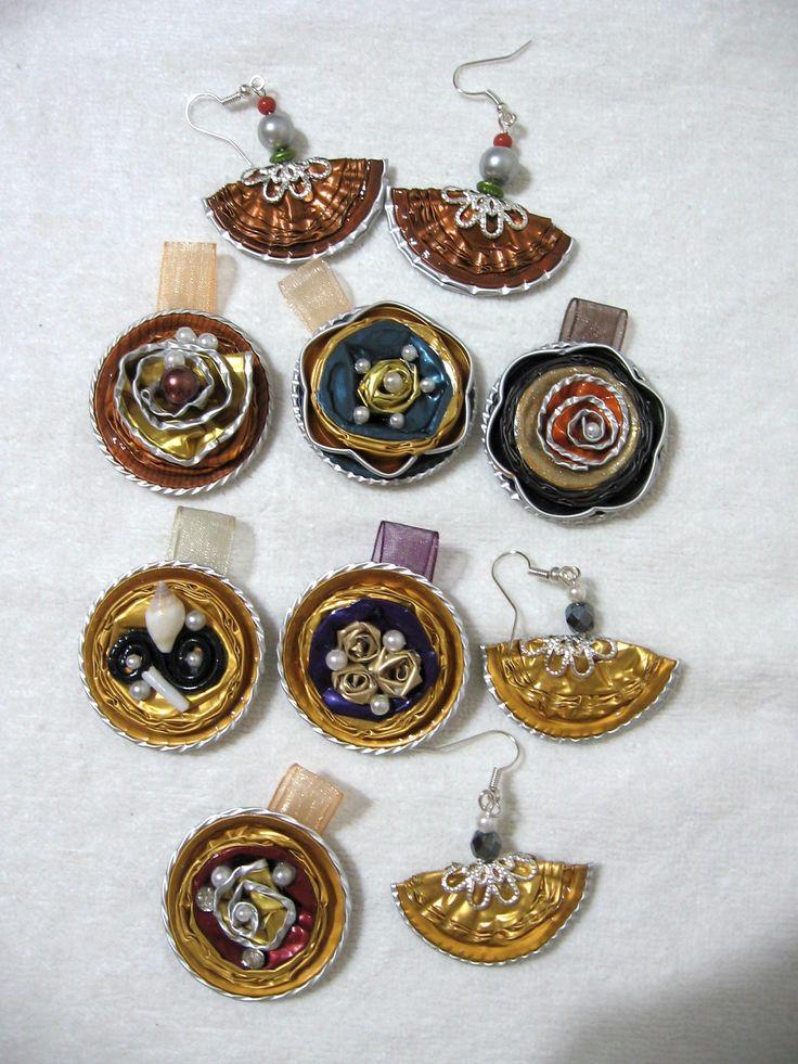 L'oro e il rosso - ciondoli e orecchini - fatti con capsule Nespresso