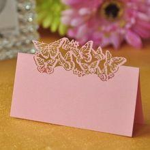 50 pz/pacco Rosa Chiaro A Forma di Farfalla Laser Festa di Nozze Carta Tavolo Mark Nome Luogo Cards Favor Decor Rifornimenti Del Partito(China (Mainland))