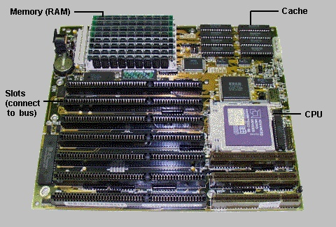 Motherboard with memory, cache, CPU, and slots labeled.