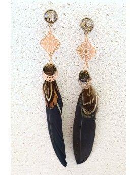 Σκουλαρίκια Feathers & Patina Stones
