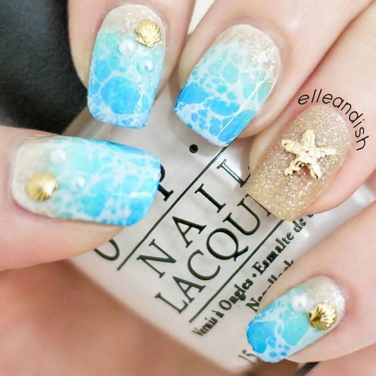 Beach Nails (Glam Version) nail art by Janelle - would totally pay for this.. Looks like alcohol water marble in white over a gradient?