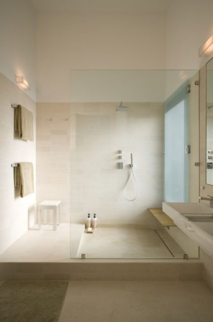 limestone modern bathroom by Webber + Studio, Architects
