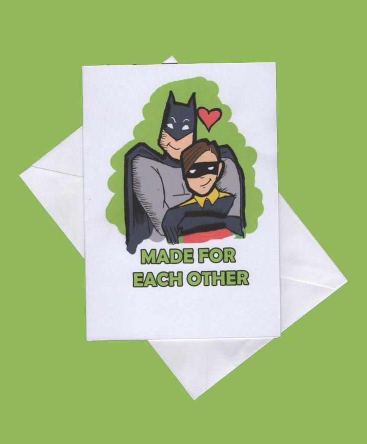 Batman and robin valentines card,funny valentines card,funny valentines cards, same sex cards,gay valentine,wedding card, gay wedding by karenflanart on Etsy