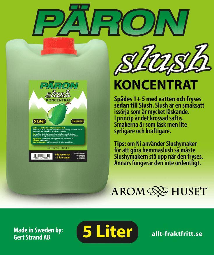 Slush Koncentrat Päron Aromhuset Slush Koncentrat Päron för att göra egen slush.  Avsett för alla muggar och slushmaskiner oavsett fabrikat.  Rekommenderad dosering är 1+5. 1 del koncentrat + 5 delar vatten, eller efter egen smak. Aromhuset Slush Koncentrat med smak som det ska smaka.