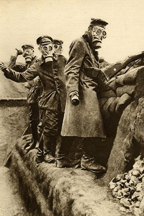 German troops wearing gas masks and throwing hand grenades, 23 Apr 1916. || The Most Powerful Images Of World War I