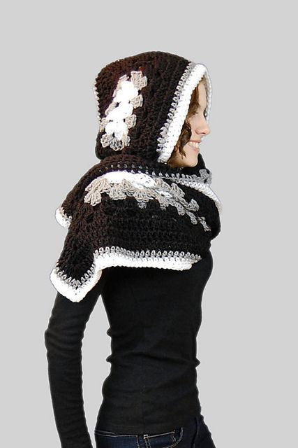 [Free Pattern] A New Twist On Traditional Granny To Make A Wonderful Hoodie Scarf