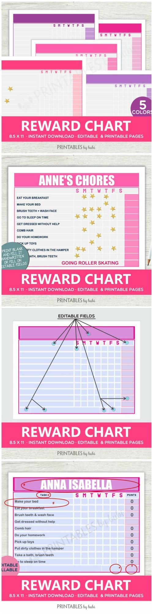 "Kids Chore Chart | Chore Chart Printable Editable, Children Chore Chart | Daily Chores Chart, Easter Printable, Instant Download - 8.5X11"" #chorechart #reward #printable #kids #family #affiliate"