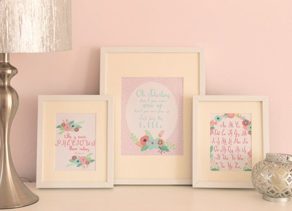 """SO CUTE!! Taylor Switft Lyrics Never Grow Up - Nursery print by StopGrowingUp on Etsy. Also shown: Coordinating alphabet print and """"She is more precious than Rubies"""" (Proverbs 3:5) print."""
