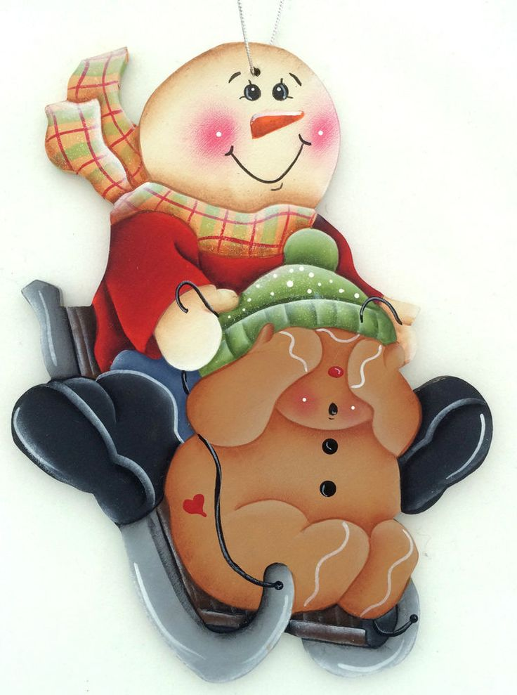 """Here i have painted an ornament of a ginger and his snow buddy sledding. It measures approximately 5.5"""" x 4"""" x 1/8"""" thick... cut from baltic birch wood."""