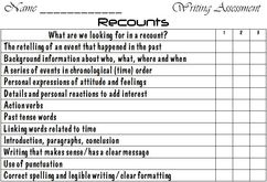 Writing Assessment for a Recount (word doc)
