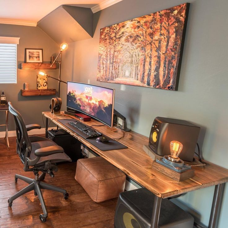 """4,303 Likes, 67 Comments - Computer Builds and Setups! (@pc.media) on Instagram: """"By Pneub ••• #pcmedia There's a lot of wood in this room, but I think it was incredibly well done…"""""""