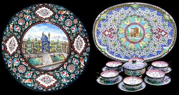 """""""Mina"""" is another enamelling technique which is often called """"miniature"""". This style appeared in Iran at a much earlier date than its Western counterpart. It is believed by some experts that this technique appeared as early as the Sassanid era (224-651), although the most ancient traces of this enameling technique are dated to the first Islamic ruler of the Mongol Ilkhanate Ghazan Khan, who ruled over Persia between 1295 and 1304.  The word """"mina"""" is the feminine form of Persian word """"minoo""""…"""