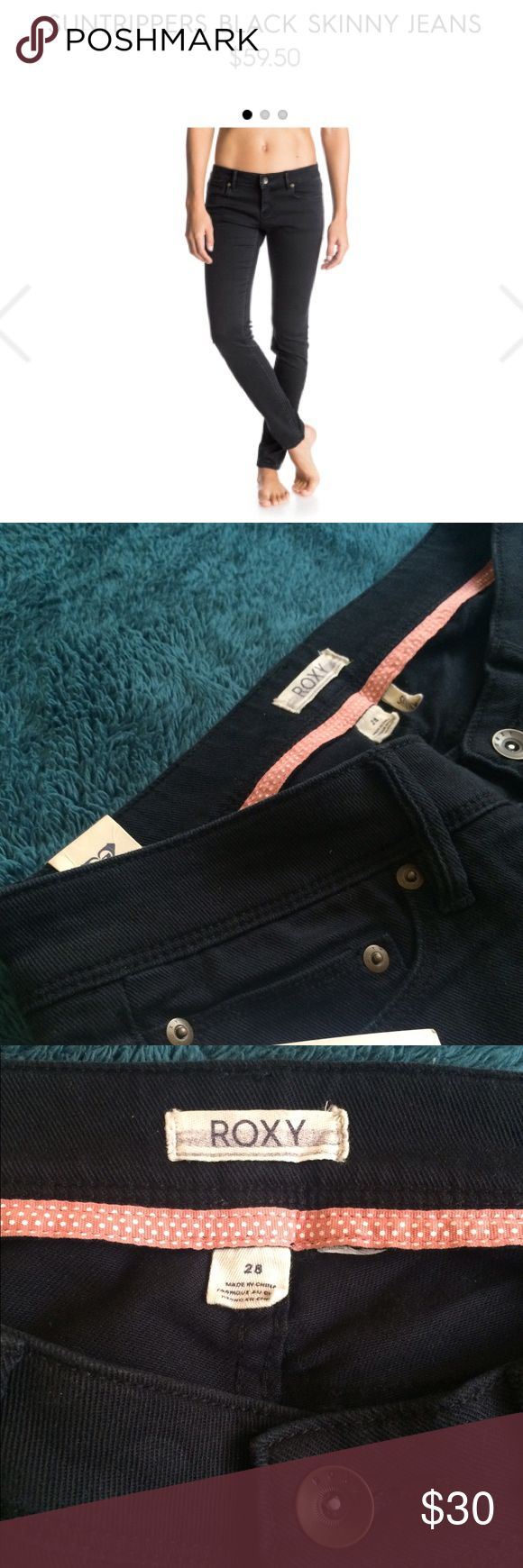 ROXY SUNSTRIPPERS SKINNY BLACK JEANS Size 28   Skinny Jeans Lightweight 270g /9.5 oz. material High waist Indigo overdye ROXY leather patch clamped on the back pocket Roxy Jeans Skinny