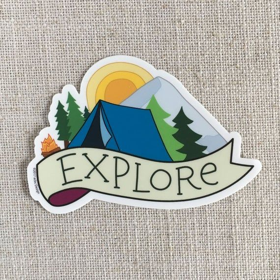 Featuring A Tend Little Camp Fire Trees And A Mountain This Sticker Is Perfect For Those Who Love Campin Outdoor Stickers Waterproof Stickers Cool Stickers