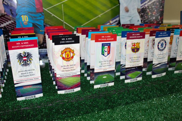Soccer Themed Place Card Tickets with Team Logos