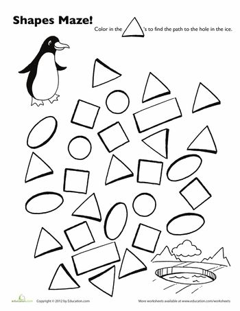 Worksheets: Penguin Shape Maze: This penguin wants to swim. You could help. Color the triangles to help him find the path to the hole in the ice. Then, he can swim. MamaPat