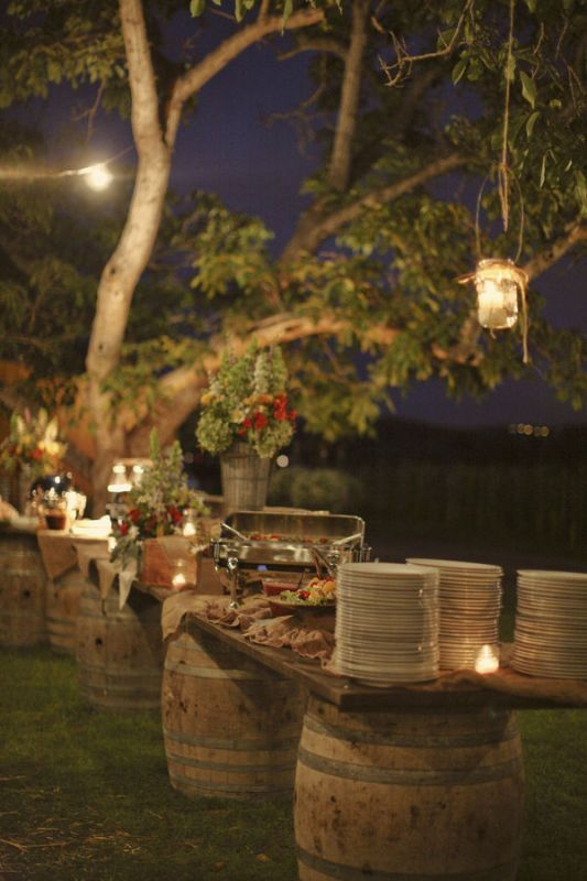 rustic dining on barrels