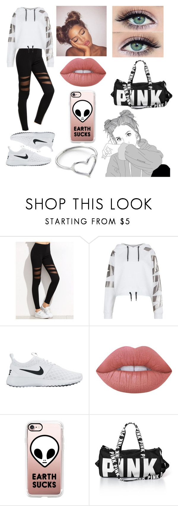 """"" by iamthequeenofwonderland ❤ liked on Polyvore featuring Topshop, NIKE, Lime Crime, Casetify, Jordan Askill, outfit, white, Pink and black"
