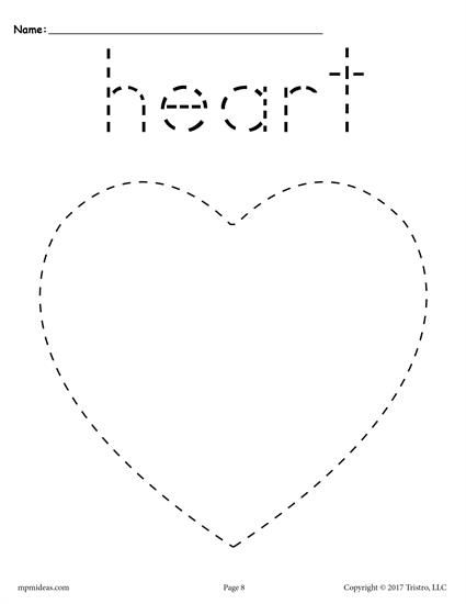 FREE heart tracing worksheet. Great for preschool and kindergarten. Get just the heart worksheet or all 12 tracing shapes worksheets here --> http://www.mpmschoolsupplies.com/ideas/7669/free-heart-tracing-worksheet/