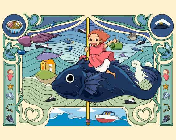 Art Nouveau Poster Ponyo .   47 Productos completamente adorables de Studio Ghibli que necesitas inmediatamente
