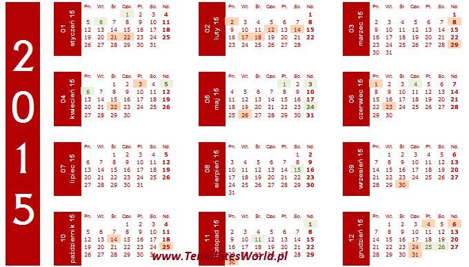 Kalendarz roczny 2015 z okazjami - bordo