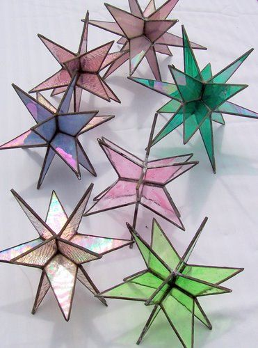 Light Blue Stained Glass Large Star Stars by Suncatchercreations