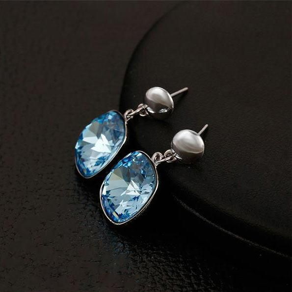 666dd7940 Blue Cushion Cut Faceted Drop Earrings - Crystals from Swarovski - Tlaxe  Jewelry