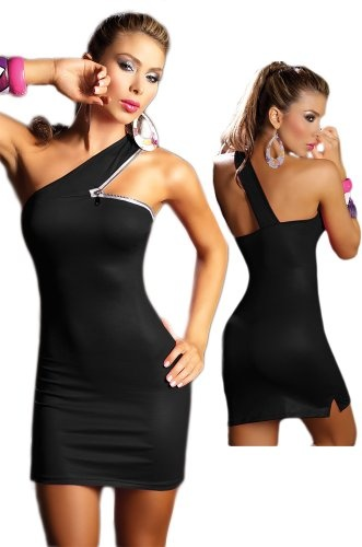 Clubbing Clothes - Sexy Black One Shoulder Dress - Extra Large $34.99