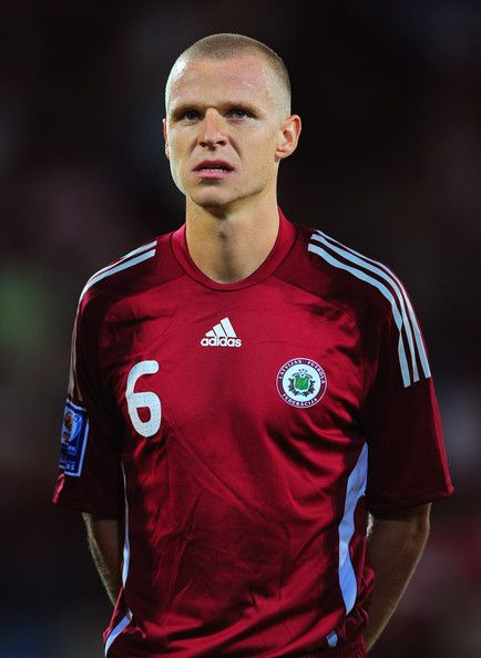 Deniss Ivanovs of Latvia prior to the FIFA 2010 World Cup Group 2 Qualifier between Latvia and Switzerland at the Skonto stadium on September 9, 2009 in Riga, Latvia.