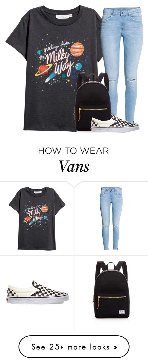 """12:17 AM"" by arielforlife on Polyvore featuring H&M, Herschel Supply Co. and Vans"