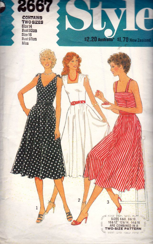 80s Full Skirt Sundress Pattern Style 2667 Vintage Sewing Pattern Size 14 16 Bust 36 38 inches