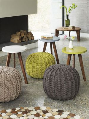 One of my favourites, these knitted pouffes are attractive and easy to place anywhere in the room.