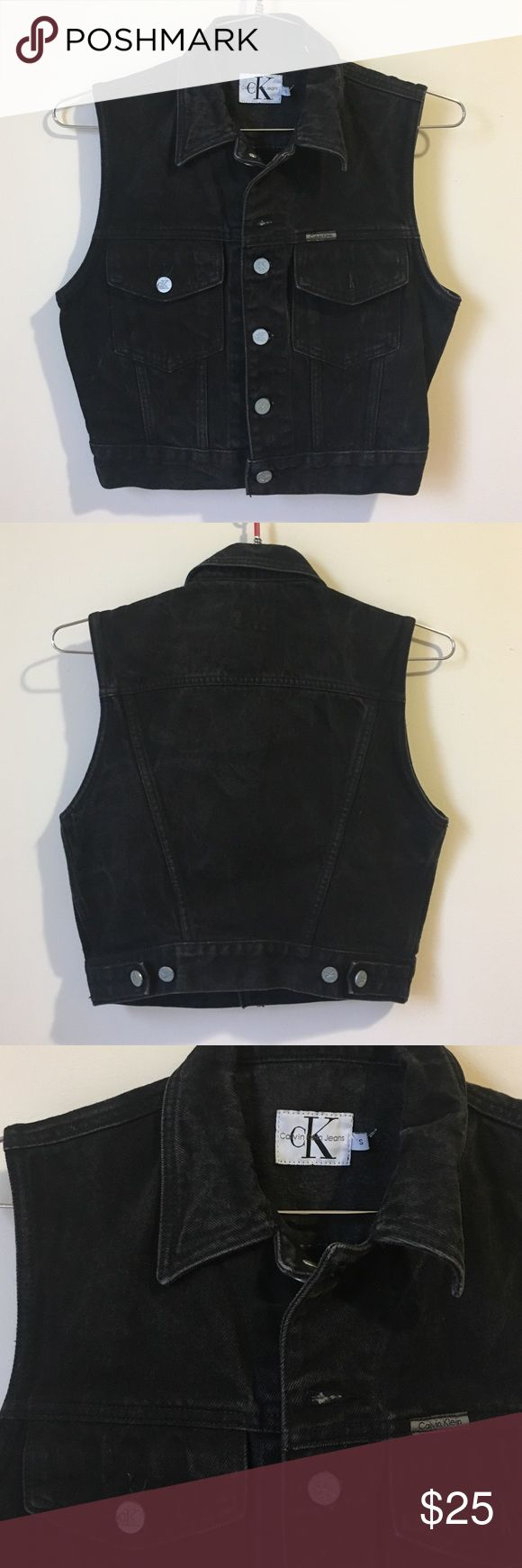 • Calvin Klein CK black Jean Vest size S• Great condition. Black faded jean vest. 100% cotton. No trades. Calvin Klein Jeans Jackets & Coats Vests