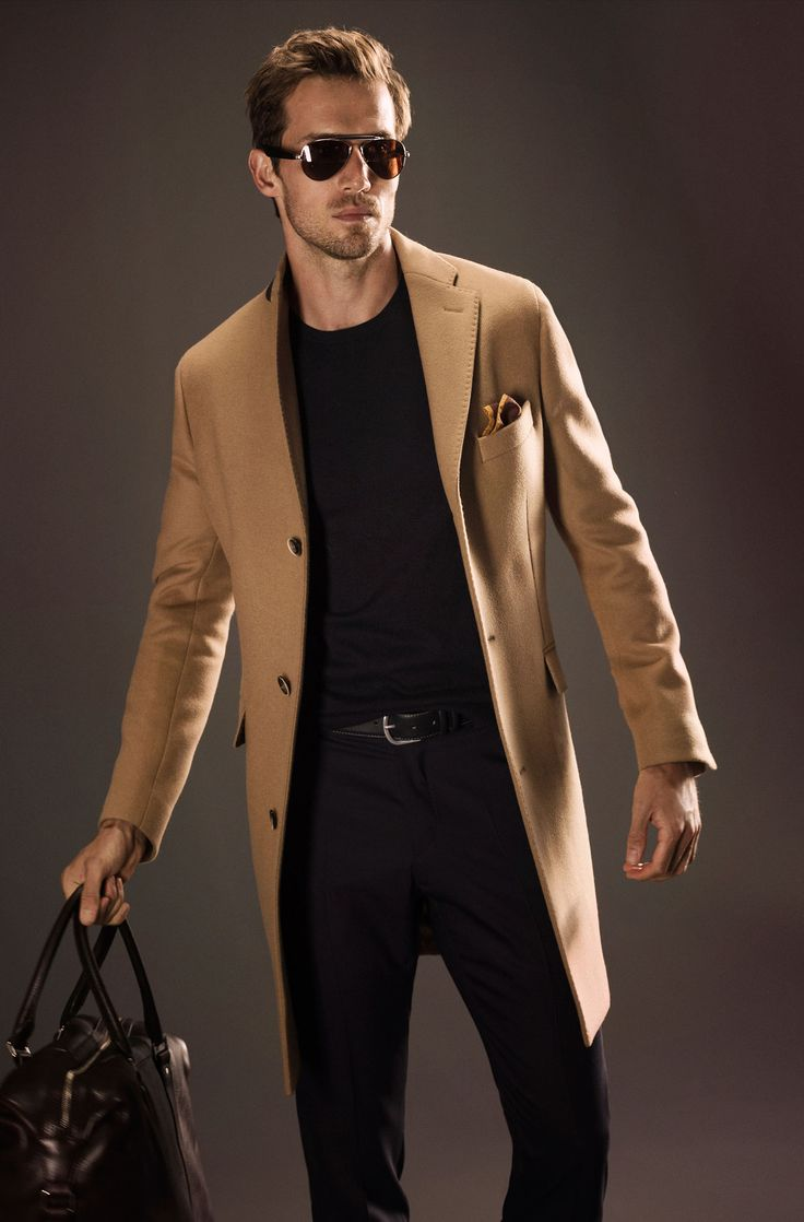 Classic Camel Hair Coat, Black Tee and Fitted Jeans. Men's Spring Summer  Fashion.
