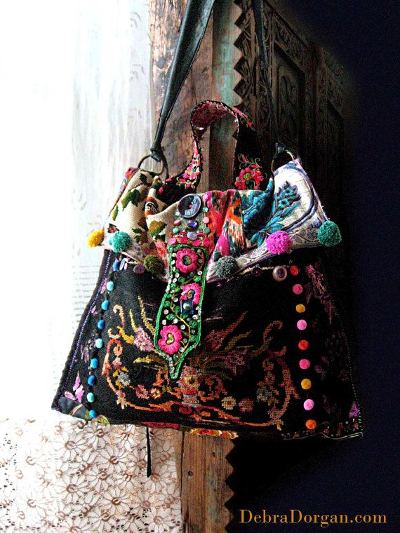 RESERVED Balance Payment for J. Black Bag, Antique Tapestry, Vintage Embroidery, Boho Bag, Large, Pom Poms, Scrumptious