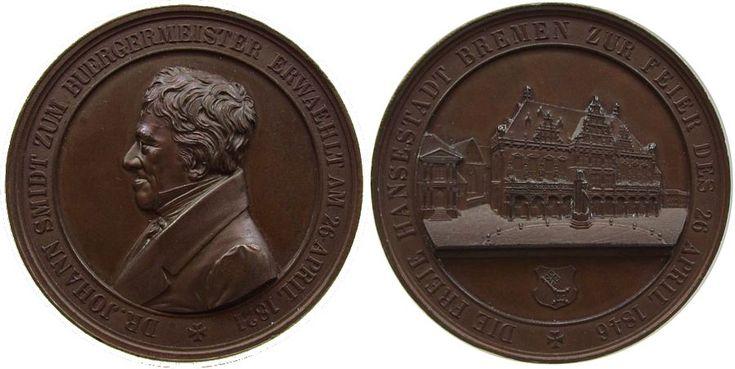 Personen Bronze Smidt Johann Dr. - Bürgermeister von Bremen, auf sein 25jähriges Dienstjubiläum, Brustbild nach links / Rathaus, v. Wilke Medaille 1846 vz
