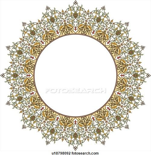 Clipart of Round green, yellow and orange Arabesque frame u18798092 - Search Clip Art, Illustration Murals, Drawings and Vector EPS Graphics Images - u18798092.eps