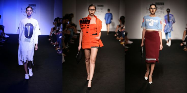 【Lakmé Fashion Week:Kanika Goyal】 Kanika Goyal got the digital life to Lakmé fashion Week with a nod to eccentric prints, slangs and athleisure. Embellished jackets, slogan t-shirts and net hoodies were seen to live it up in style during those long summer days. Edgy urban sportswear at its best.