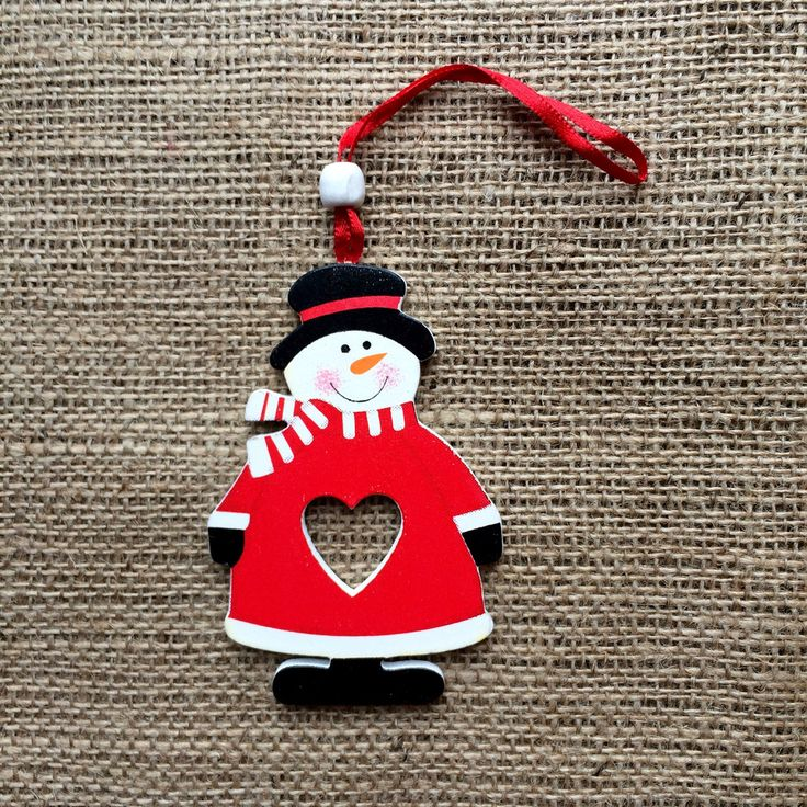 Christmas Decoration Wooden Heart Snowman