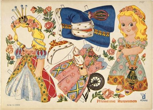 I didn't know Rudolf Koivu made paper dolls like this... it doesn't look like his work... but this is Sleeping Beauty (in Finnish prinsessa Ruusunen - princess Lil'rose.)