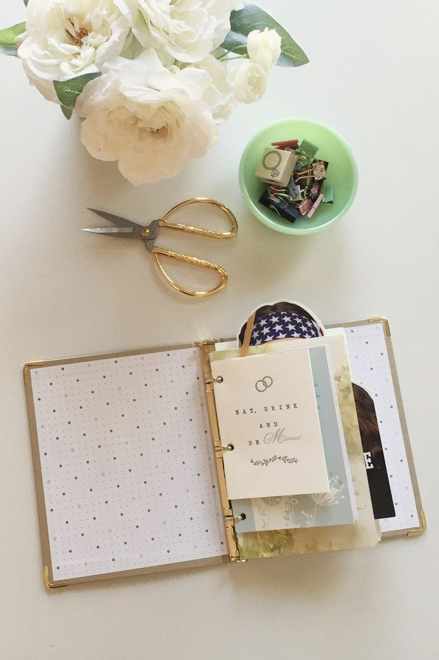 Once you've punched holes in all of the cards, clip them into the binder. | Here's An Easy Way To Save Your Wedding Cards                                                                                                                                                     More