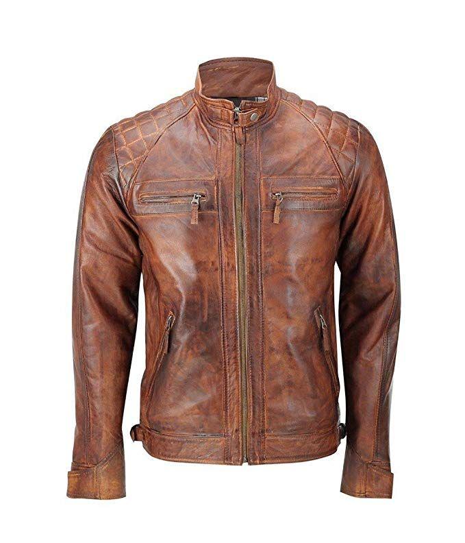 Men/'s Quilted Motorcycle Padded Shoulder Vintage Shade Racer Real Leather Jacket