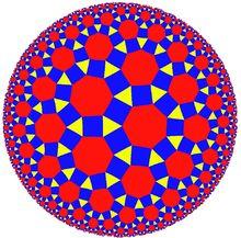 Hyperbolic geometry - Wikipedia - Rhombitriheptagonal tiling of the hyperbolic plane, seen in the Poincaré disk model
