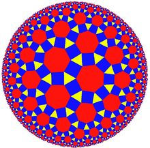Hyperbolic geometry - Wikipedia - Rhombitriheptagonal tiling of the hyperbolic plane, seen in the Poincaré disk model