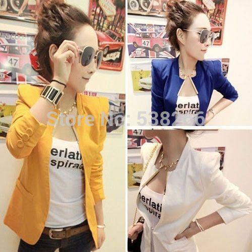 新しいレディース韓国ファッションメタルカラースリムシュラグブレザーコートスーツ5色黒青白黄赤sm wc148