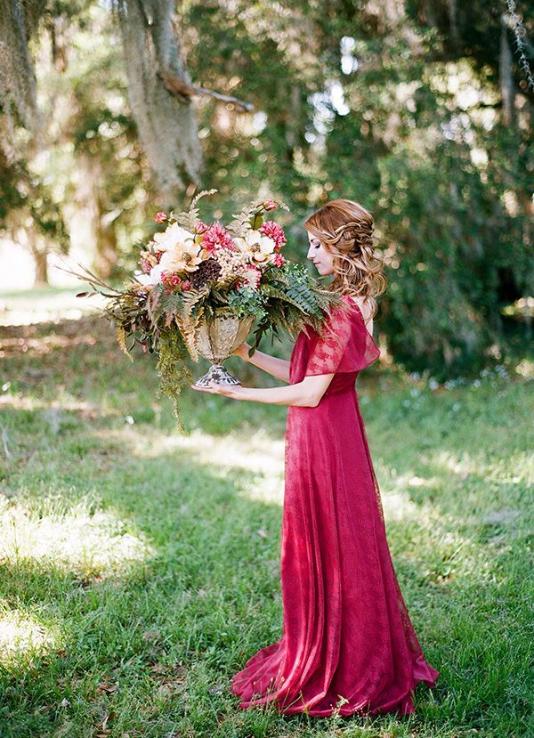 Berry Lace Summer Wedding Dress | Clayton Austin Photography | See More! http://heyweddinglady.com/rich-wild-summer-berry-wedding-inspiration/