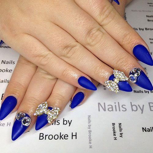 Blue Matte Stiletto Nails with Silver Details