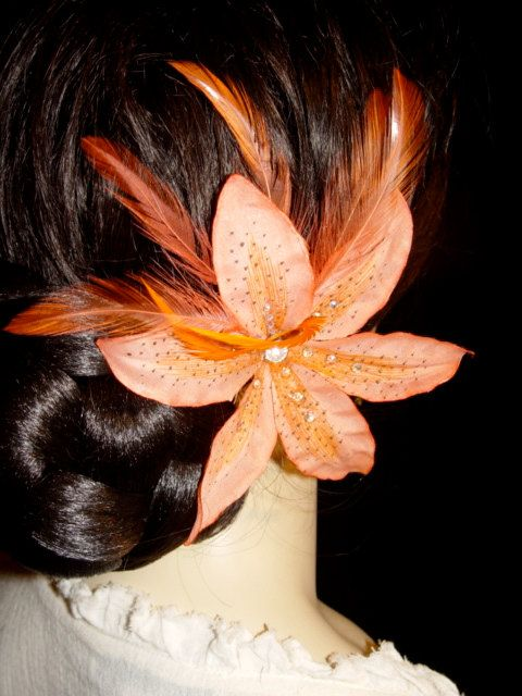 Coral Orange Silk Tiger Lily Swarovski by IslandGirlDesigns, $25.00
